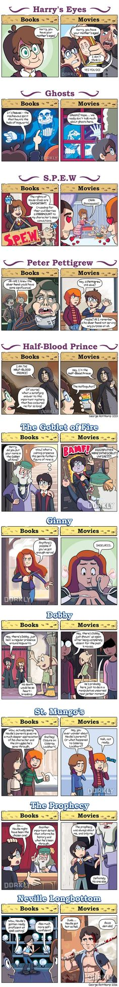Admittedly, the green eyes can be forgiven - though it's still funny xD 11 Ways Harry Potter Movies Are Different From The Books - 9GAG