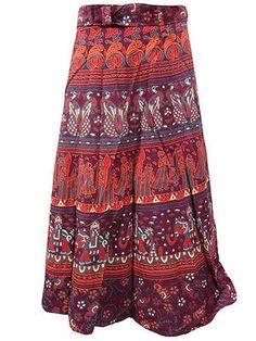 Maxi Wrap Skirt- Maroon Elephants Printed Sarong Long Wrap Around Skirts Purple Maxi Skirts, Cotton Maxi Skirts, Summer Skirts, Purple Skirt, Beach Wrap Skirt, Wrap Around Skirt, Sarong Dress, Ankle Length Skirt, Long Skirts For Women