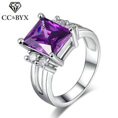>> Click to Buy << CC Jewelry Rings for Women Fashion Jewelry Purple Crystal CZ Color Square Elegant Ring Bride Wedding Engagement Bijoux CC202 #Affiliate