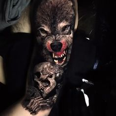Wolf tattoo ideas are a representation of the need to trust our hearts & minds. Here is a collection of some of the best wolf tattoos which are really cool. Wolf Tattoo Design, Skull Tattoo Design, Tattoo Designs Men, Wolf Tattoos Men, Badass Tattoos, Viking Tattoos, Tattoos For Guys, Wolf Tattoo Forearm, Wolf Tattoo Sleeve