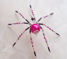 Neon Pink and Black Beaded Christmas Spider