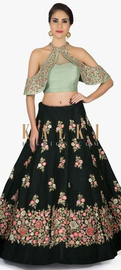 Bottle Green Lehenga with Halter Neck Mud-green Blouse enhanced in Resham and Zardosi only on Kalki Green Lehenga, Indian Lehenga, Lehenga Choli, Bollywood Lehenga, Indian Attire, Indian Wear, Ethnic Fashion, Indian Fashion, Indian Dresses