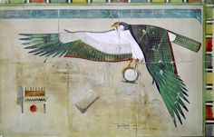 Watercolour copy by Howard Carter (1874-1939) of a painted scene showing the Horus falcon from the mortuary temple of Queen Hatshepsut at Deir el-Bahri, Egypt, 1895. Gouache on paper. Griffith Institute, University of Oxford.