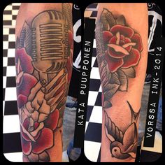 https://www.facebook.com/VorssaInk, http://tattoosbykata.blogspot.fi, #tattoo #tatuointi #katapuupponen #vorssaink #forssa #finland #traditionaltattoo #suomi #oldschool #pin up #rose #microphone