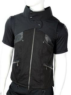 Cyberpunk mens vest with faux leather details by Plastik Wrap.