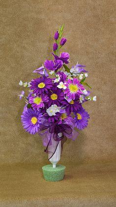 Silk Flowers for Cemetery Vases | Silk Flower Memorial Vase - Cemetery Vase - Cemetery Cup - Head Stone ...