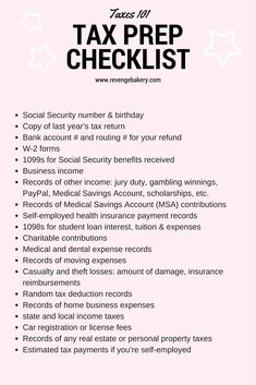 TAX CHECKLIST - tax 101 for the self employed