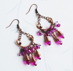 Beautiful Fuchsia Pink Teardrop Crystals Copper Wire Wrap Chandelier Earrings