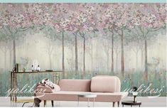Peinture à l'huile vintage Flower Tree Peinture murale murale murale murale, Shabby Retro Flower Trees Wall Mural. Retro Flowers, Vintage Flowers, Wall Stickers Vines, Wallpaper Wall, Forest Mural, Tree Wall Murals, Purple Rooms, Open Wall, Cleaning Walls