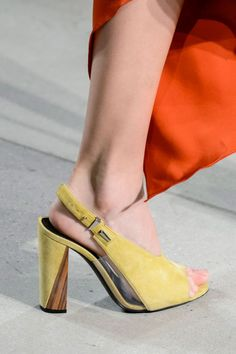 The Prabal Gurung NYFW 2017 runway show featured these gorgeous mustard colored slingbacks with wood and plastic detailing.