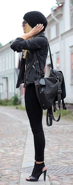 All black outfit, leather jacket, peep toe heels. Beauty on High Heels #Fashion