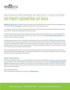 WILSONHCG RECOGNIZED BY MULTIPLE PUBLICATIONS IN FIRST QUARTER OF 2014.