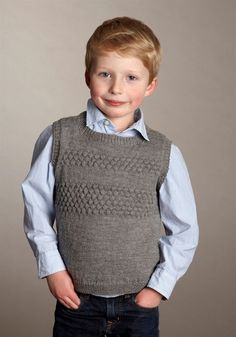 Ravelry: Sømandsvest med bobler pattern by Trine Bertelsen Knitting For Kids, Crochet For Kids, Baby Knitting, Knit Crochet, Baby & Toddler Clothing, Toddler Boys, Knit Leg Warmers, Knitwear, Knitting Patterns