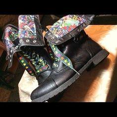 Marvel Shoes - Marvel Comics Snap-Down Zipper-Back Combat Boots