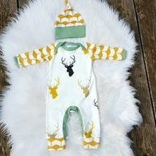 Newborn Infant Toddler Baby Boys Girls Unise Reindeer Romper Jumpsuit Outfits Casual Clothes Hat 2PCS Set(China (Mainland))