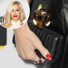 At The Bling Ring's premiere, Gwen Stefani wore red polish accented with fine gold glitter.