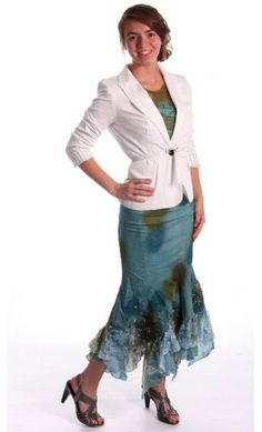 Long Denim Skirt with distressed lace hem and spotted texture
