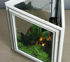 s 25 awesome things you didn t know you could do with old picture frames, crafts, repurposing upcycling, Make a faux terrarium light