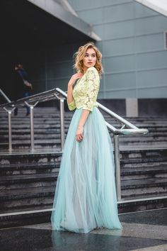 "Inspired by the style of ""Sex and the City"" the AMINA tulle skirt is trendy, wonderfully rich and flowing. Made of an enduring Lace Tops, Fashion Advice, Bridesmaids, Special Occasion, Contrast, Tulle, Dress Up, Stylish, Create"