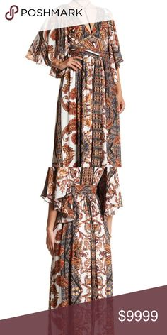 """♥️BEAUTY!♥️FIT FOR A QUEEN MAJESTIC FP MAXI SZ 2 🌟🌟Free People Maxie Fern dress retail $350. Vertical bands of alternating patterns create an ornate effect in an ultra-drapey, goddess-like maxi dress styled with a deep V-neckline and fluttery split elbow-length sleeves. This dress model does NOT have side split skirt. - V-neck - Hidden side-zip closure - Split elbow length sleeves - Allover print - Lined - Approx. 60"""" length (size 2) 100% polyester, true to size…"""