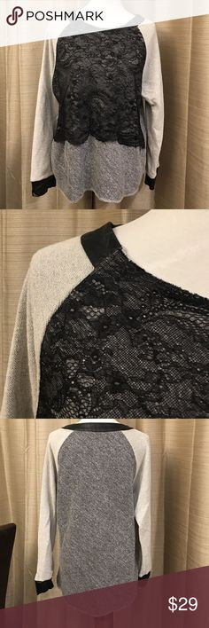 Lace & Cotton Shirt Great Dress up or down shirt 💋Black Lace and Faux leather trim on collar and sleeve trim . Size Large Tops Sweatshirts & Hoodies