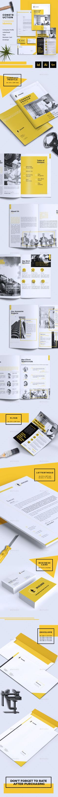 Builder   Construction Corporate Branding Identity Template InDesign INDD, AI Illustrator