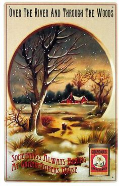 """""""Over the River and Through the Woods,"""" Grandma's Baking Powder Vintage Trade Card Thanksgiving Songs, Thanksgiving Blessings, Thanksgiving Greetings, Vintage Thanksgiving, Thanksgiving Traditions, Thanksgiving Pictures, Vintage Greeting Cards, Vintage Christmas Cards, Vintage Holiday"""