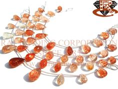 Tanzanian Sunstone Faceted Drops (Quality AA) Shape: Drops Faceted Length: 18 cm Weight Approx: 8 to 10 Grms. Size Approx: 6x11 to 6.5x12 mm Price $39.00 Each Strand