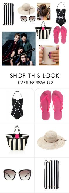 """""""at the beach"""" by joethemusiclover ❤ liked on Polyvore featuring Havaianas, JADEtribe, Miu Miu and MICHAEL Michael Kors"""
