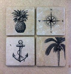 'Sail Away' stone coaster set