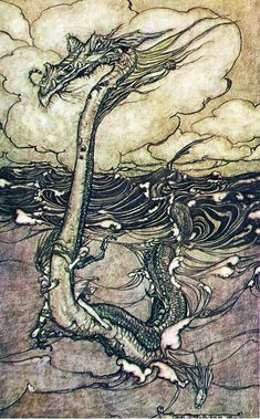 A Young Girl Riding a Sea Serpent - Arthur Rackham's Book Of Pictures, 1913