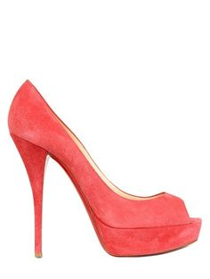 1dcc67c0b44e  CHRISTIAN LOUBOUTIN Pink 140mm Troca Suede Open Toe Pumps Shoes Heels  Boots