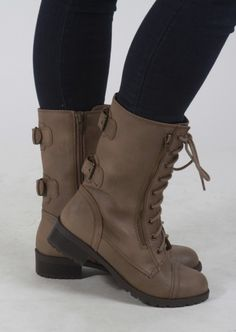 Combat Boots With Side Zippers #combat #boots #taupe #shoes #kieus