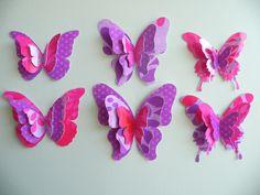 six-beautiful-handicraft-ideas-from-paper-butterfly-handicrafts - Button Crafts Origami Butterfly Easy, Paper Butterfly Crafts, How To Make Butterfly, Butterfly Template, Butterfly Wall Art, Butterfly Decorations, Paper Butterflies, Origami Easy, Paper Flowers