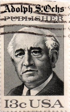 US postage stamp, 13 cents. Adolph S. Ochs, Publisher.  Issued 1976. Scott catalog 1700.