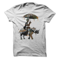 African girl riding a rhino and use umbrellas