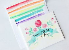 Beautiful watercolor card by Danielle Flanders at Homespun with Heart