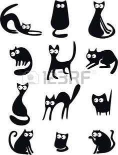 Schwarze Katze Silhouetten Lizenzfreie Bilder