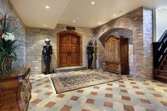 Image result for double wood column sitting on a stone base in a basement
