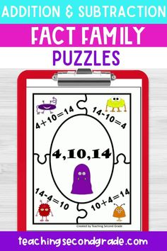 If you are looking for fun and engaging addition and subtraction fact family puzzles or worksheets for your 1st, 2nd, or 3rd grade students, you'll love these fact family puzzles! Math can be fun with the right materials. Your students will enjoy learning in your classroom without realizing it. #mathactivities #mathgames #mathpuzzles #factfamily #factfamilypuzzles #additionpuzzles #subtractionpuzzles #factfamilyworksheets #factfamilyactivities Teaching Second Grade, Second Grade Math, Addition Facts, Addition And Subtraction, Math Resources, Math Activities, Classroom Pictures, Math Assessment, Fact Families