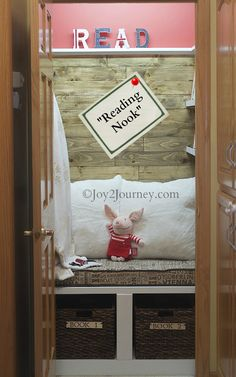 Amazing transformation (and tutorial!) of a linen closet to a reading nook by Joy2Journey | featured at Remodelaholic