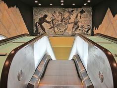 Upper level of the Toledo Metro Station in Naples, Italy