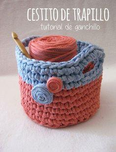 Proyecto Handmade: Crochet basket, free pattern not in En Crochet Home, Love Crochet, Diy Crochet, Crochet Cats, Crochet Birds, Crochet Animals, Crochet Basket Pattern, Crochet Patterns, Crochet Storage