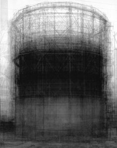"Idris Khan. ""Homage to Bernd Becher."" He layers old photos or fragments of old photos to create these images."