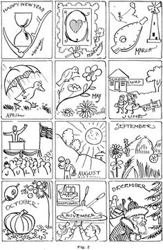 Months of the Year Coloring Page from TwistyNoodlecom My stuff