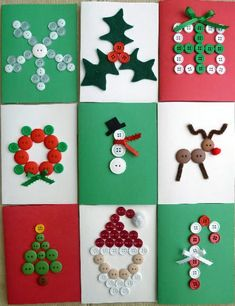 Easy peasy & oh so cute -- Tarjetas de Navidad con Botones -- Christmas Cards with Buttons Homemade Christmas Cards, Christmas Cards To Make, Christmas Gift Tags, Xmas Cards, Handmade Christmas, Christmas Fun, Christmas Decorations, Button Christmas Cards, Childrens Christmas Card Ideas