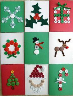Tarjetas de Navidad con Botones -- Christmas Cards with Buttons