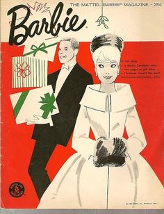 Vintage Holiday Barbie magazine with a picture of Barbie.he better have that Chanel suit she wanted or its no pretend sex for Ken Christmas Barbie, Retro Christmas, Christmas Cover, Christmas Dresses, Christmas Shopping, White Christmas, Christmas Holidays, Vintage Christmas Images, Vintage Holiday