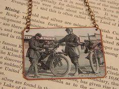 Feminist Necklace Augusta and Adeline Van Buren Motorcyclist necklace mixed media jewelry