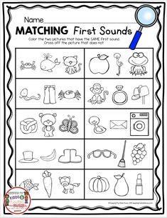 Teaching First Sounds – Complete Unit with FREEBIES KINDERGARTEN first sounds unit – initial sounds CVC words – kindergarten phonics – letter sounds – alphabet – Kindergarten Lesson Plans Beginning Sounds Kindergarten, Beginning Sounds Worksheets, Kindergarten Language Arts, Free Kindergarten Worksheets, Kindergarten Lessons, Kindergarten Phonics, Kg Worksheets, Seasons Kindergarten, Back To School Worksheets